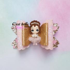 Luxe Enchanted haarstrik large ballerina roze/lichtroze