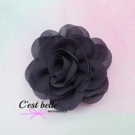 Chiffon haarbloem roos 8,5cm zwart