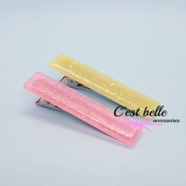 Resin/epoxy luxe haarclip set roze/geel glitter
