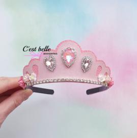 Tiara diadeem roze bling prinses