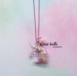 Ballchain ketting magische eenhoorn/unicorn roze
