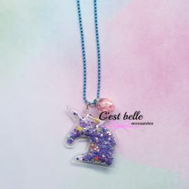Ballchain ketting magische eenhoorn/unicorn blauw