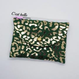 Pouchy clutch || tasje portemonneetje panterprint groen/goud