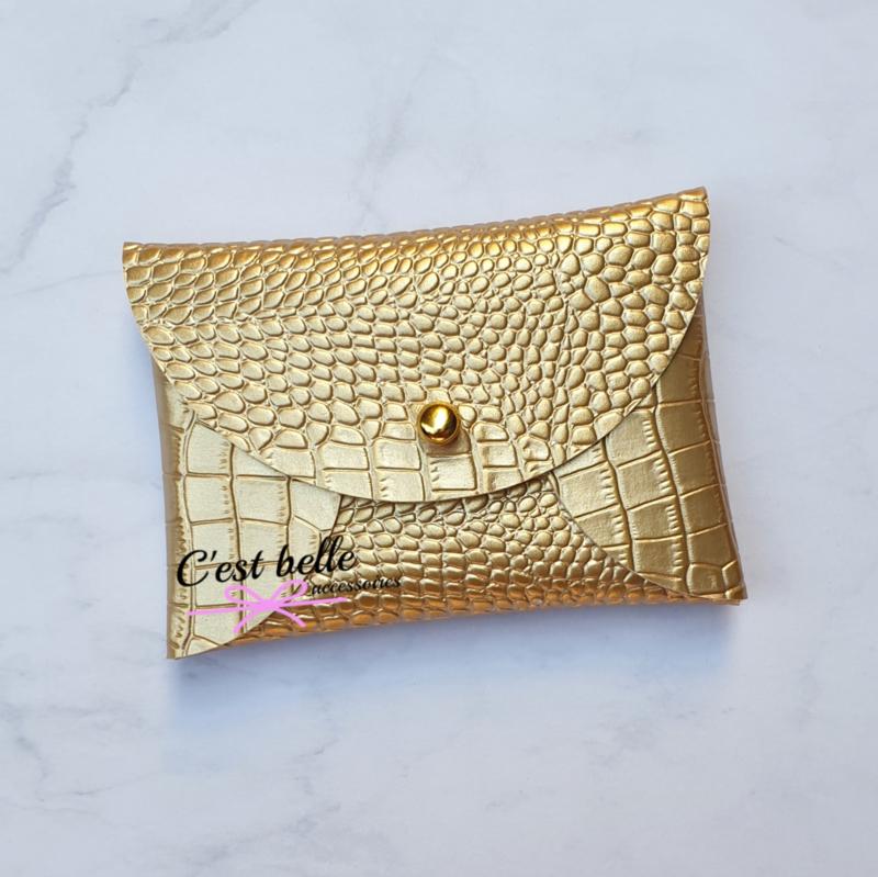 Pouchy clutch    tasje portemonneetje krokodillen motief goud