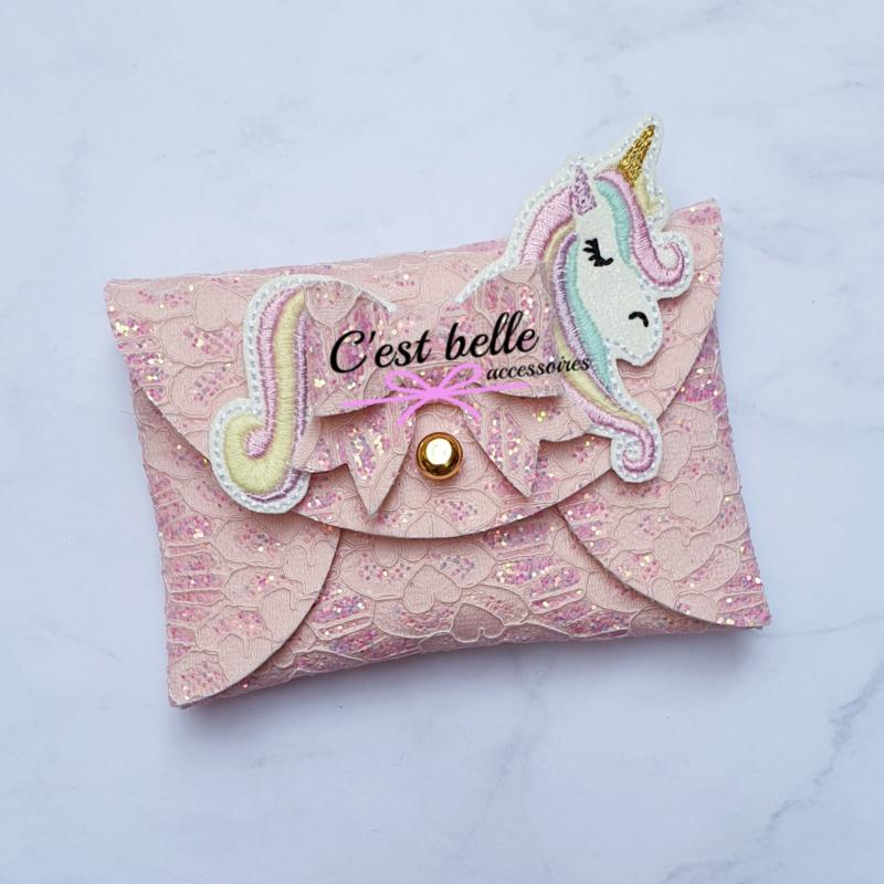 Pouchy clutch unicorn || tasje portemonneetje roze kant