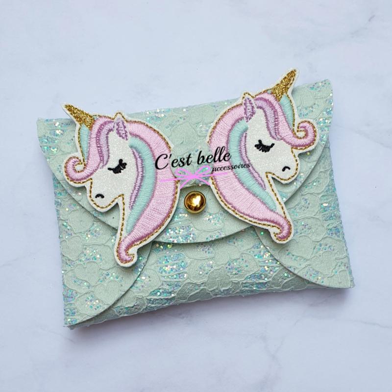 Pouchy clutch unicorn || tasje portemonneetje mintgroen kantkant
