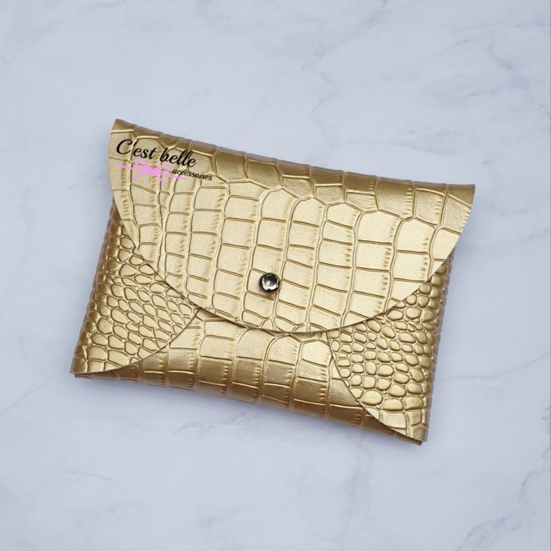 Pouchy clutch || tasje portemonneetje goud krokodillenmotief