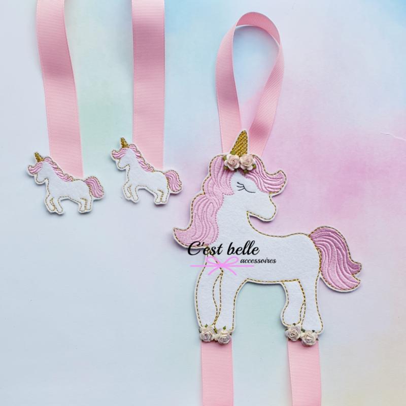 Haarstrik/haarclip houder unicorn roze