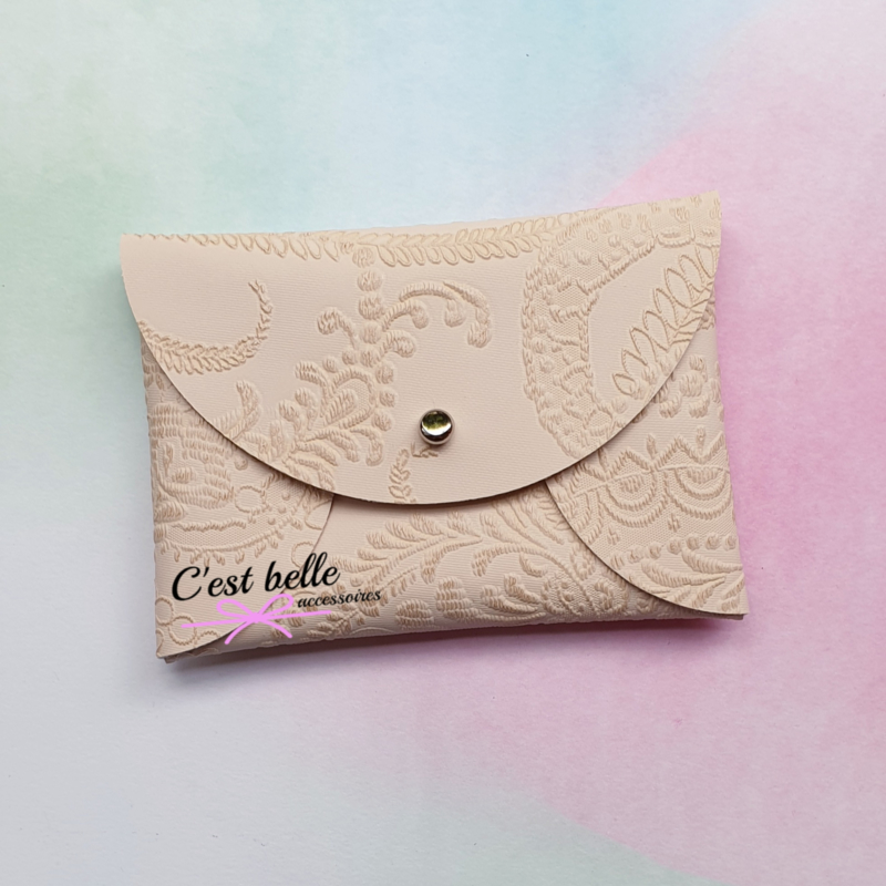Pouchy clutch    tasje portemonneetje crème print