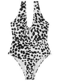 Zwart wit luipaard print badpak