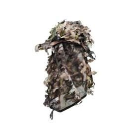 Pet met gezichtscamouflage met 3D blaadjes bruin