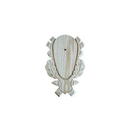 Geweiplank eiken blank maat 24x15x1,8cm incl. kaakuitsparing + schedelklem.