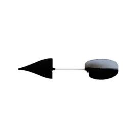 Spinwing geflockte vleugels + as zwart/wit