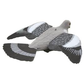 Lokvogel vliegende duif 41cm met EVA (foam) vleugels geflockt