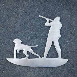 Autosticker RVS jager met hond