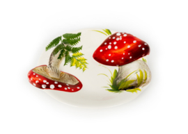 Bordje paddenstoel rood met witte stippen