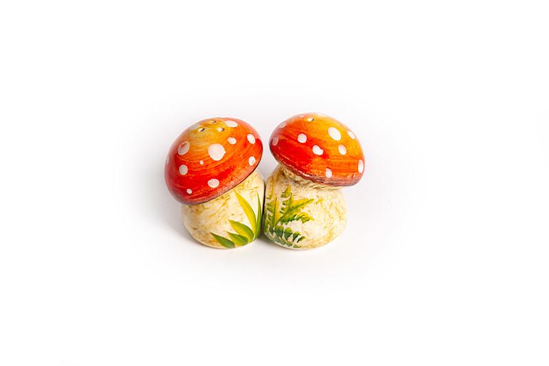 Peper- en zoutsetje paddenstoel rood/witte stippen