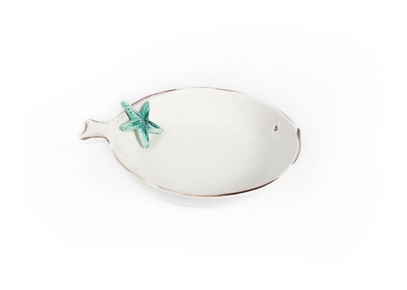 Schaal/bord VIS met zeester turquoise