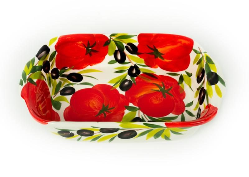 Ovenschaal/lasagneschaal tomaat/olijven