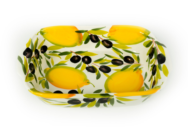 Ovenschaal/lasagneschaal citroen met olijven