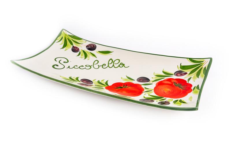 Rechthoekige schaal tomaat/olijven Piccobella