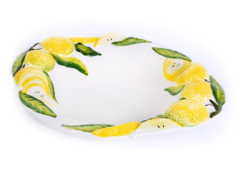 Ovale diepe schaal met citroenen