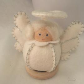 Engel/ Angel -Bolletje engel wit / zilver