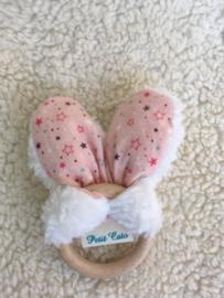 Bijtring oren - Wit Teddy - roze met sterretjes