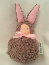 Konijn bruin - roze/  Rabbit