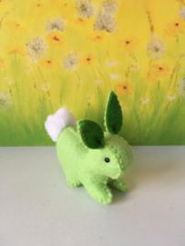 Regenboogkonijn klein 100% wolvilt groen - groene oren