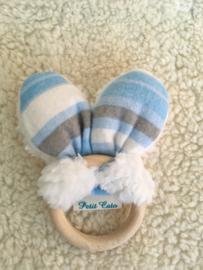 Bijtring oren - Wit Teddy - blauw/grijze strepen