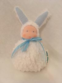 Konijn wit - blauw/  Rabbit