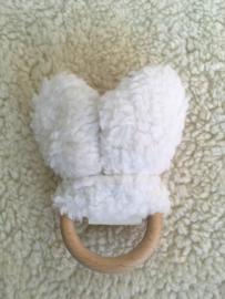 Bijtring oren - Wit Teddy - blauw met sterretjes