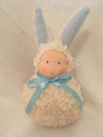 Konijn  ecru - blauw/  Rabbit