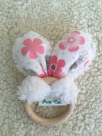 Bijtring oren - Wit Teddy - roze/grijze bloemen