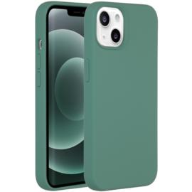 Luiquid silicone blackcover iPhone 13 Mini - Donkergroen