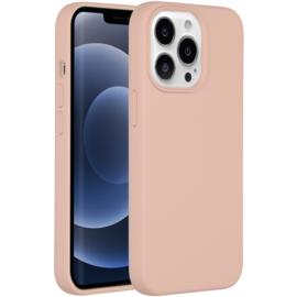 Luiquid silicone blackcover iPhone 13 Pro Max - Roze