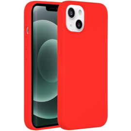 Luiquid silicone blackcover iPhone 13 - Rood
