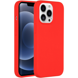 Luiquid silicone blackcover iPhone 13 Pro Max -Rood