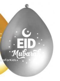 Eid mubarak ballonnen zilver (10 stuks)