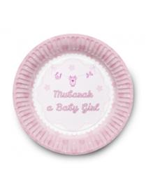 Geboorte bordjes meisje (6stuks)