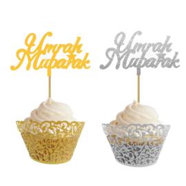 Umrah Mubarak Cupcake prikkers (10 stuks)