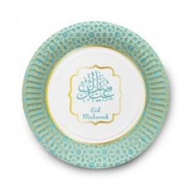 Eid Mubarak bord Groen/goud (set van 6)