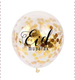 Ballonnen Eid Mubarak goud confetti (6 stuks)