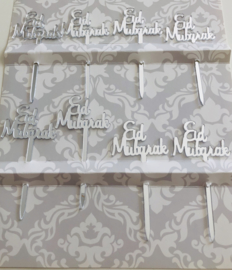 Cupcake prikkers Eid Mubarak zilver (8 stuks)