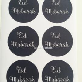 Eid Mubarak stickers zwart (vel van 6)