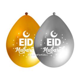 EId Mubarak ballonnen Zilver/goud (10 stuks)