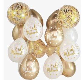 Eid Mubarak Ballonnen mix goud (10 stuks)