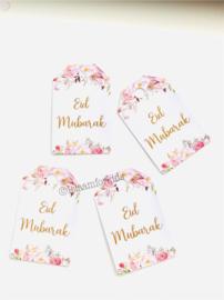 Eid Mubarak mini label bloemen (4 stuks)