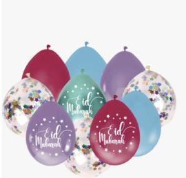 Eid Mubarak Ballonnen mix multi color (10 stuks)